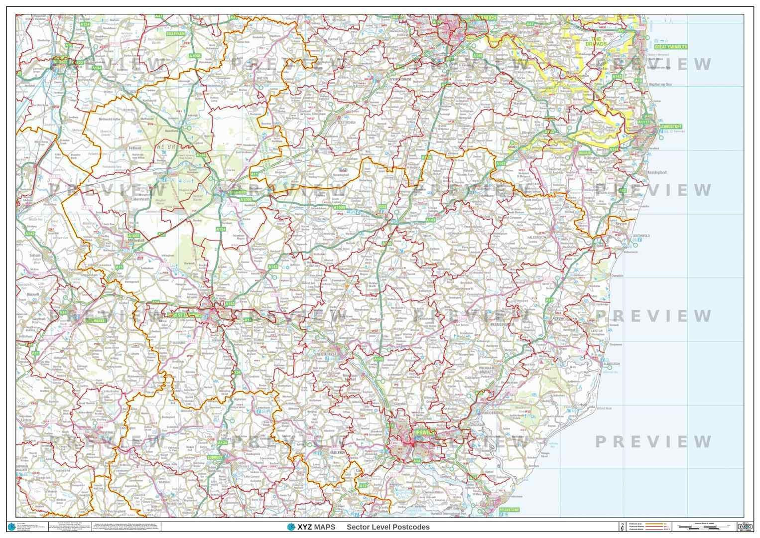 IP Postcode Map for the Ipswich Postcode Area GIF or PDF Download