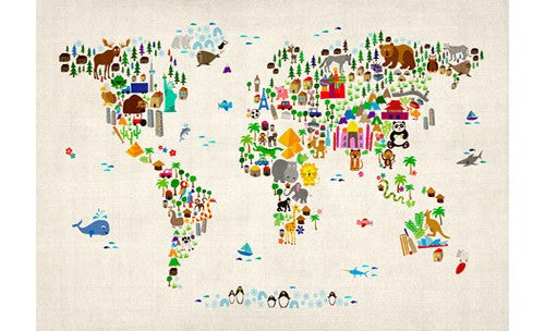 Kids Animal Map of the World