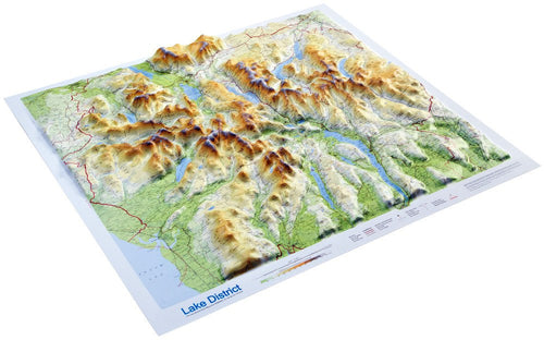 An angled view of the Lake District 3D Relief Map