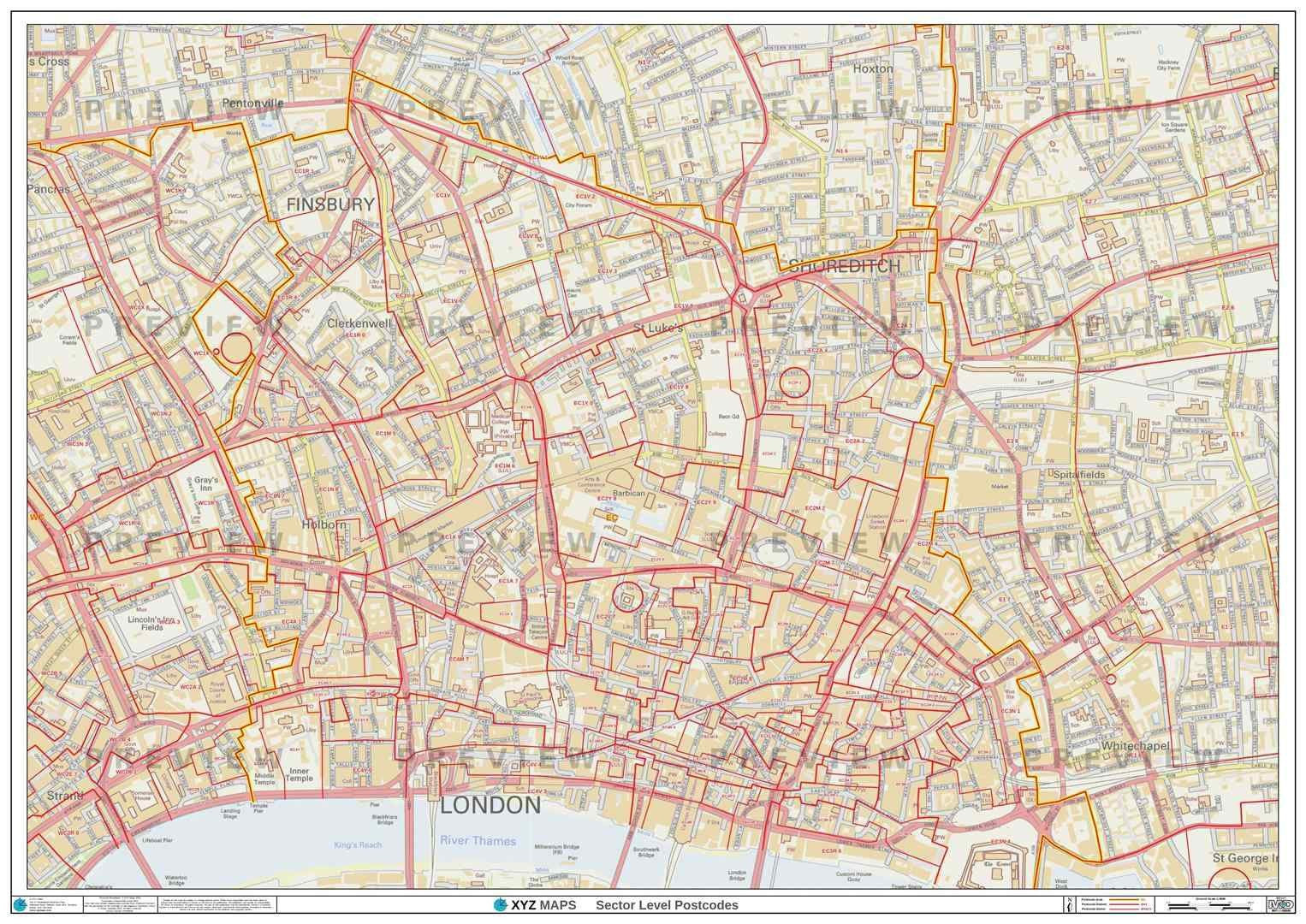 London Postcode Map For The Ec Postcode Area Gif Or Pdf Download
