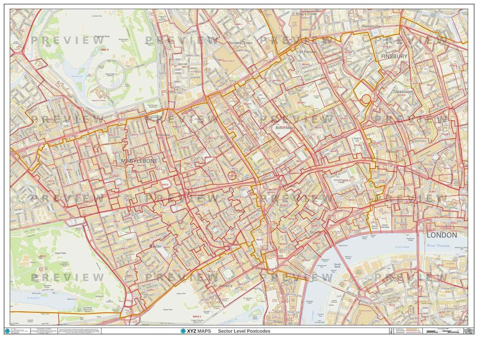 London Postcode Map For The Wc Postcode Area Gif Or Pdf Download