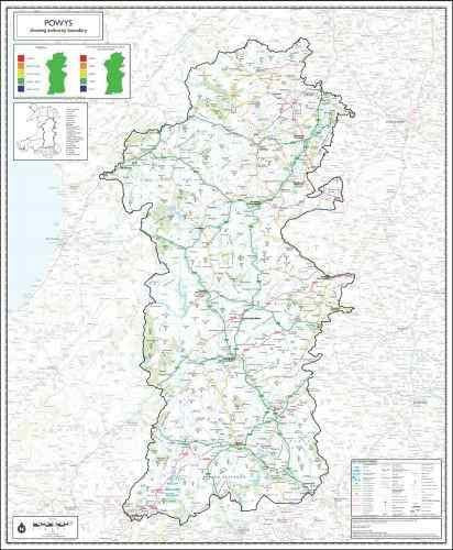 Map of Powys County