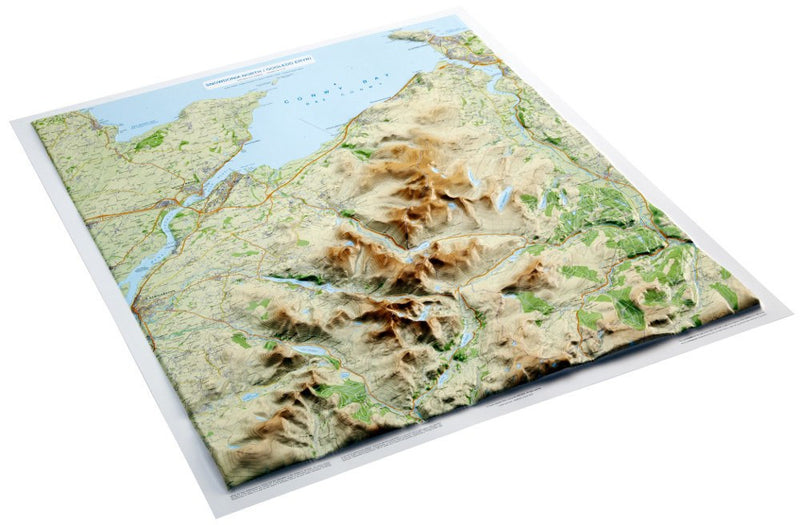 An angled view of the Snowdonia 3D Relief Map