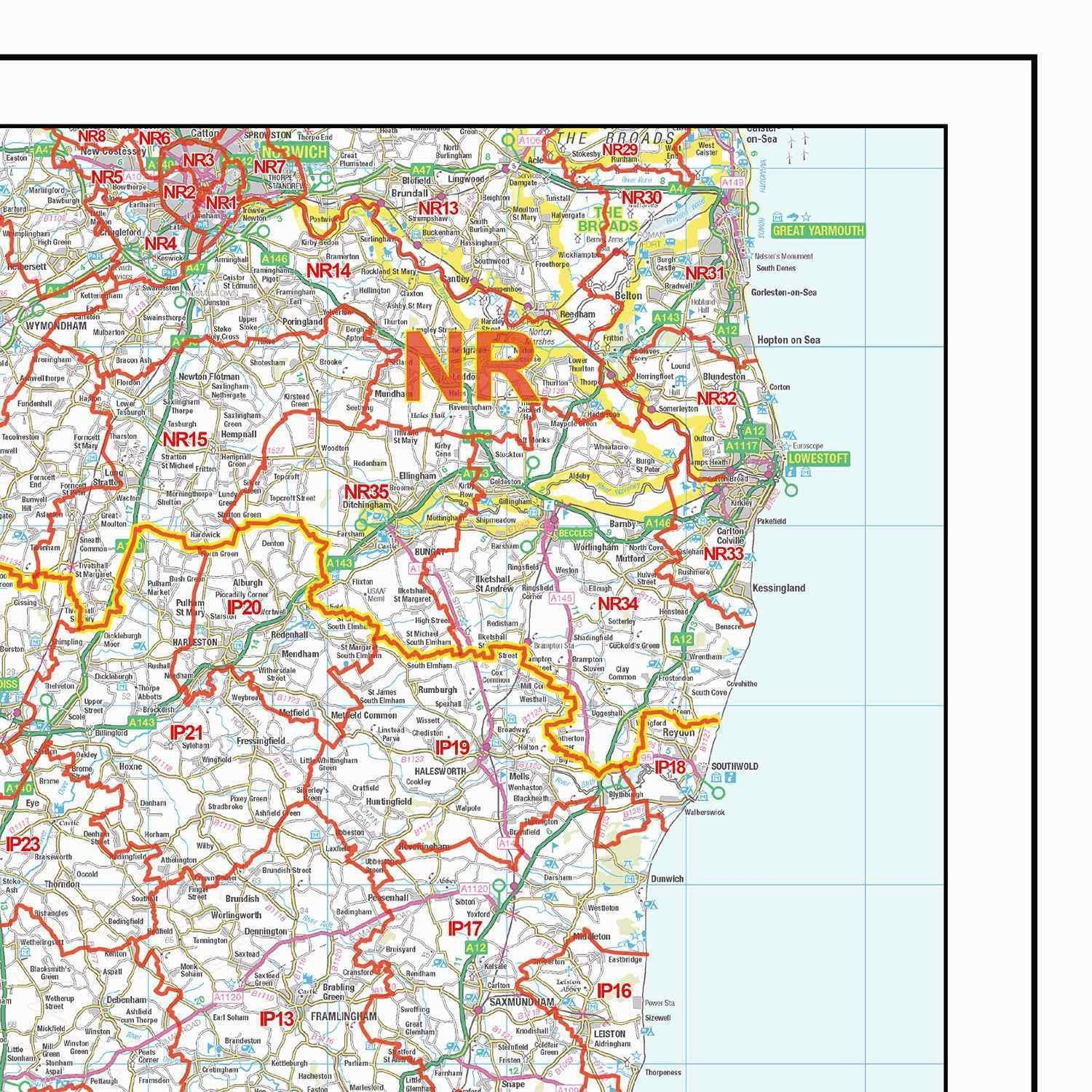 Map East Of England.South East England Postcode District Map D2