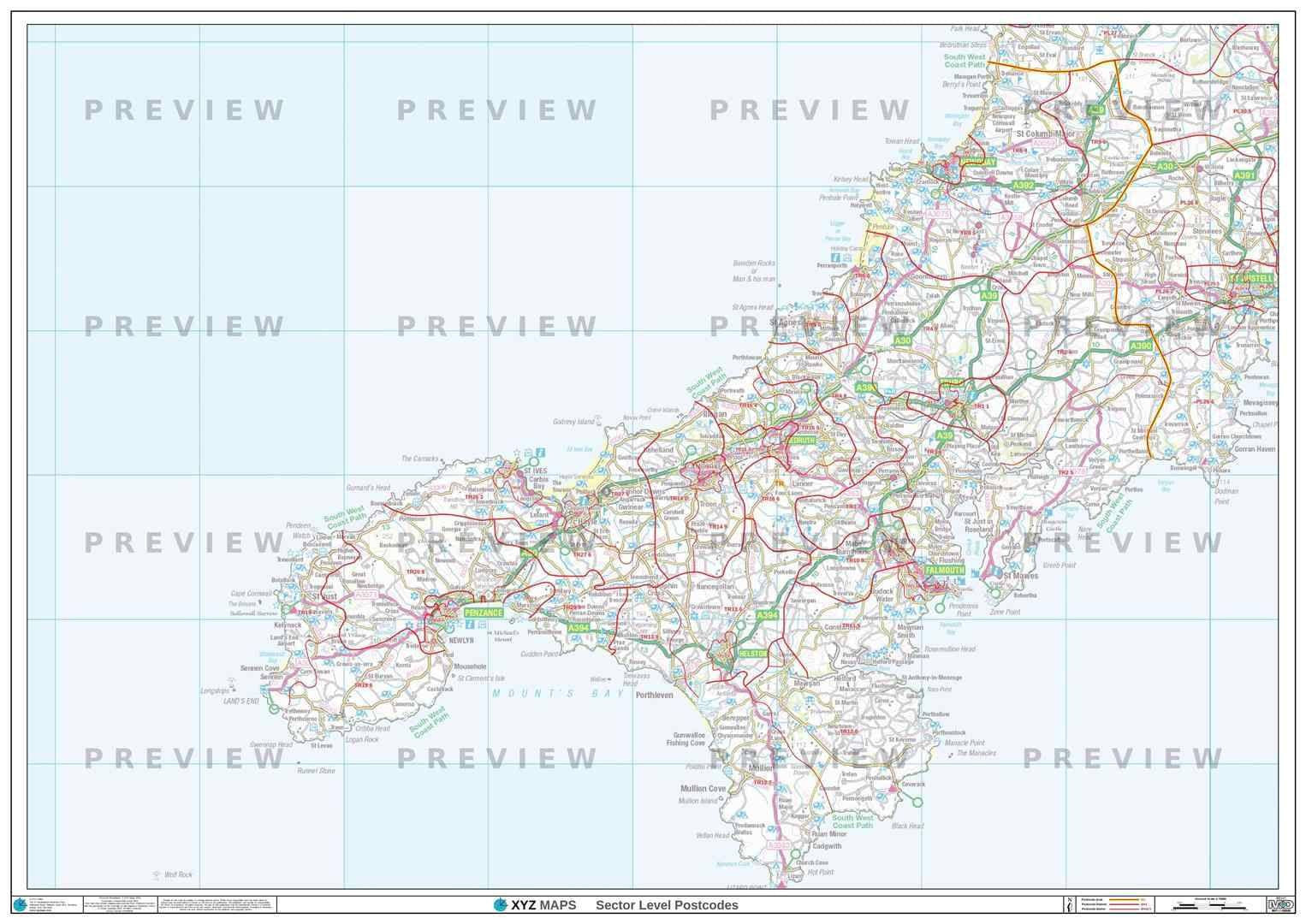TR Postcode Map for the Truro Postcode Area GIF or PDF Download