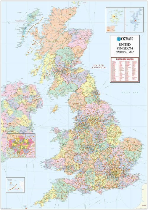 County & Postcode Areas Map of the UK