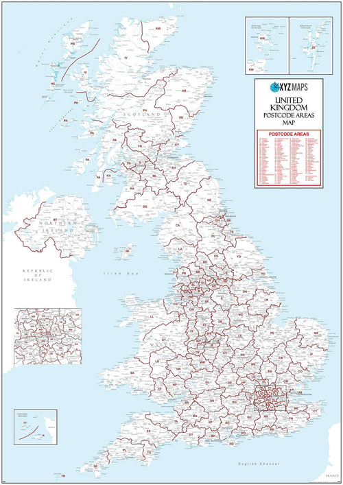 Map of UK Postcode Areas