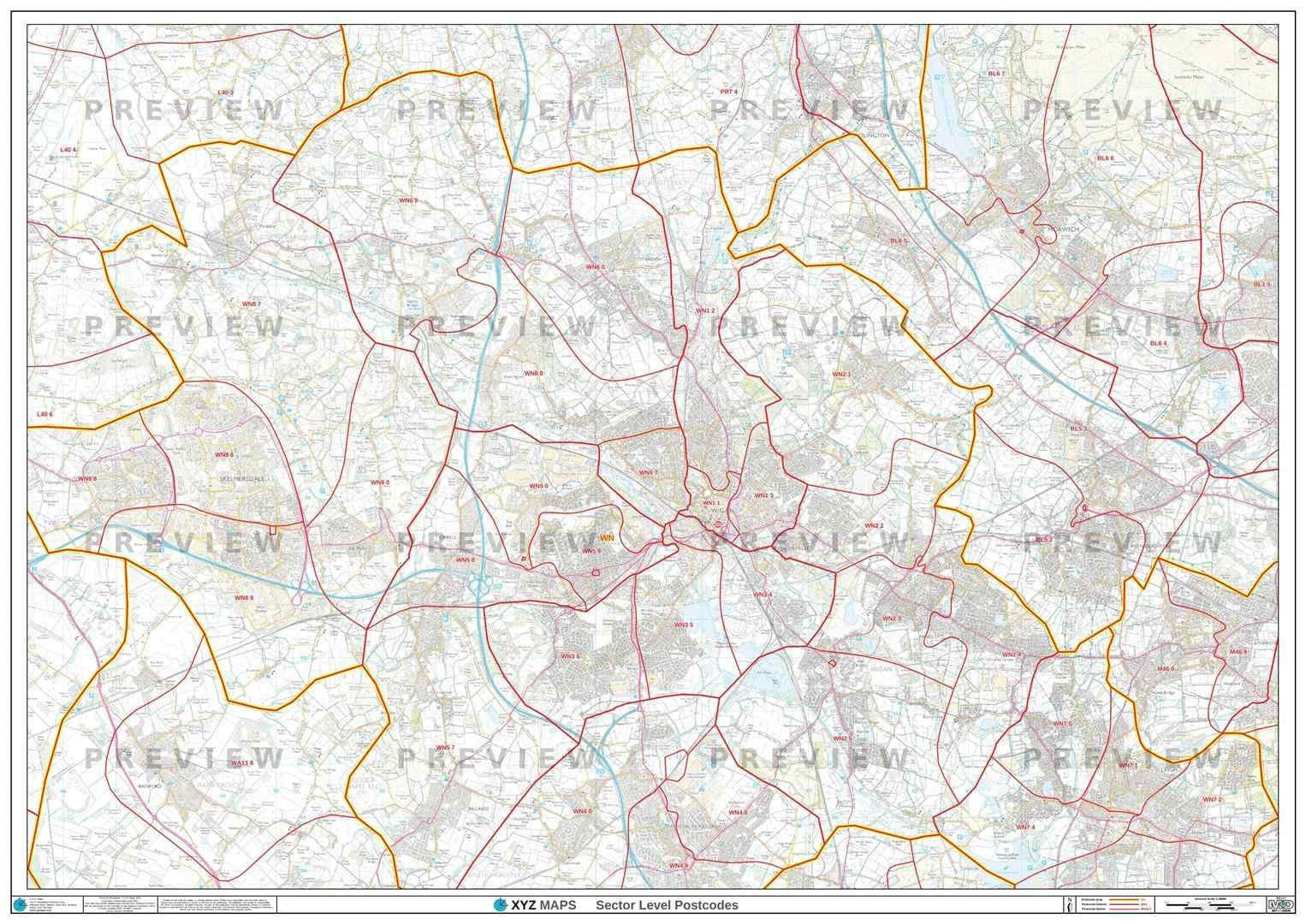 WN Postcode Map for the Wigan Postcode Area GIF or PDF Download