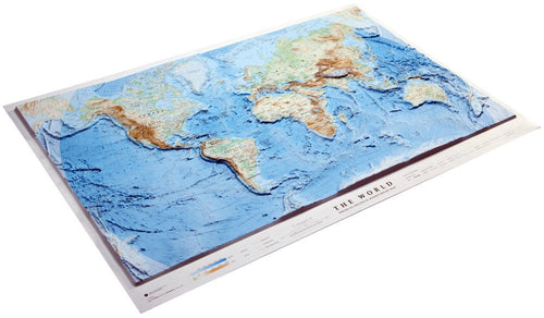 An angled view of the World 3D Relief Map