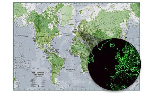 Glow in the dark world map map logic glow in the dark world map poster contrast of day vs night gumiabroncs Gallery