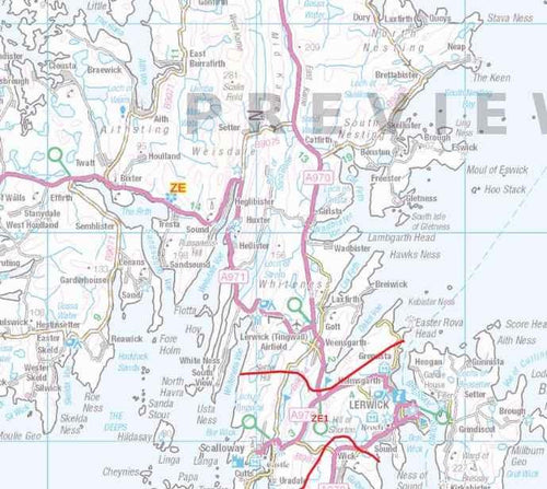 Lerwick Postcode Map for the ZE Postcode Area - Detail Sample