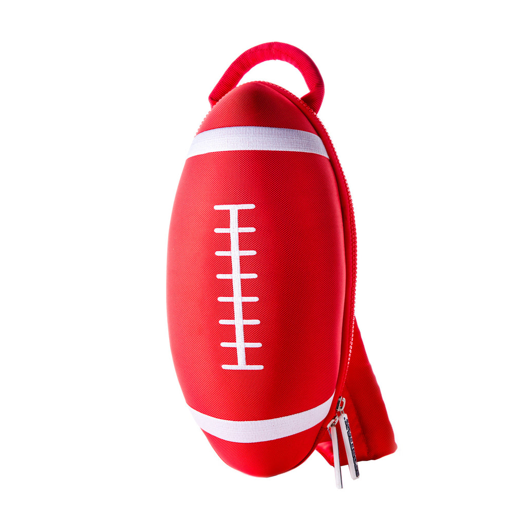 red rugby ball backpack bag