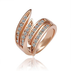 18k Ladies Swarovski Wave Rose Gold Ring