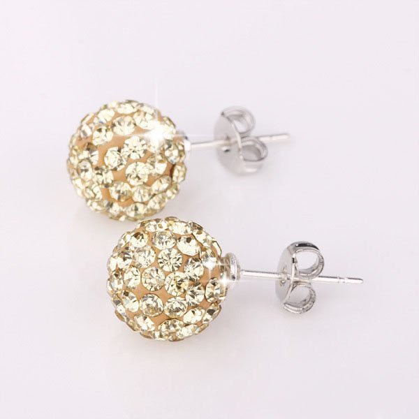Sterling Silver Plated Shamballa Crystal Stud Earrings