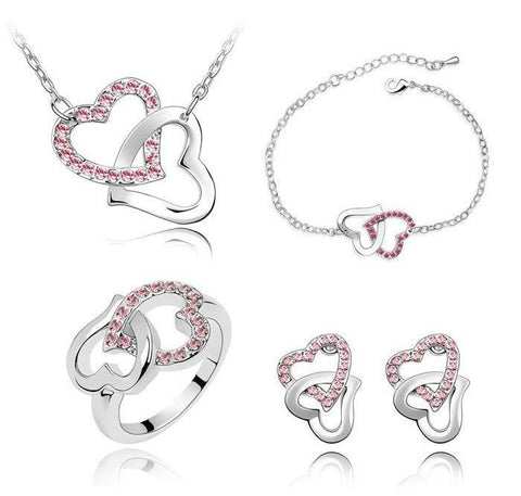 White Gold Plated Swarovski Double Heart Necklace, Earrings, Bracelet and Ring Set