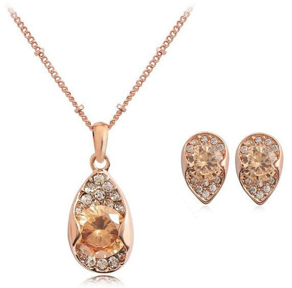 18K Gold Plated Swarovski Golden Tear Drop Necklace and Earrings Set