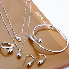Sterling Silver Plated Tear Drop Necklace, Earrings, Ring and Bangle Set