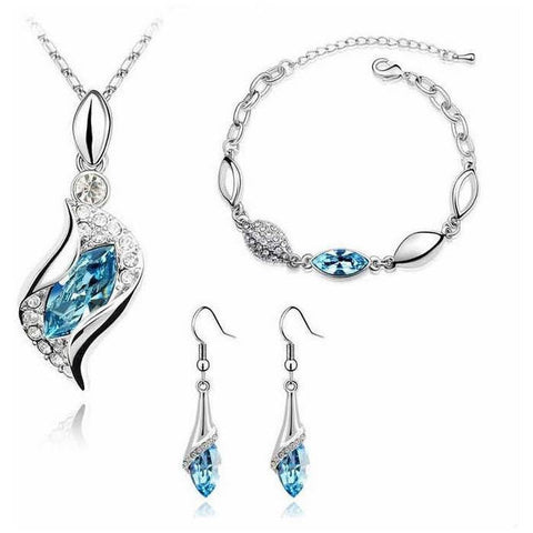 White Gold Plated Swarovski Droplet Necklace, Bracelet and Earrings Set