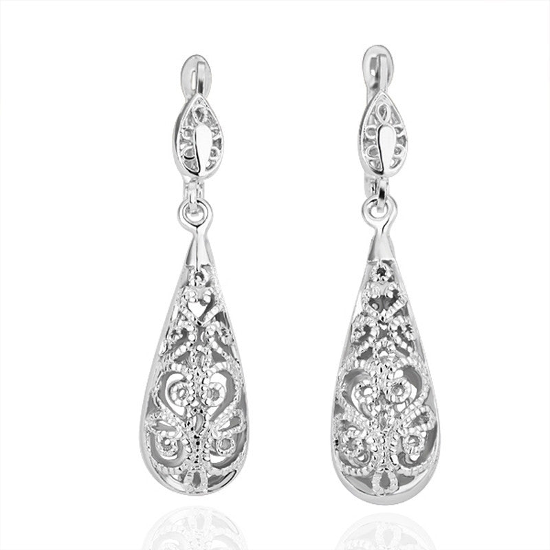 Platinum Plated Hollow Drop Earrings