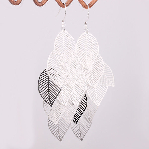 Sterling Silver Plated Leaf Earrings