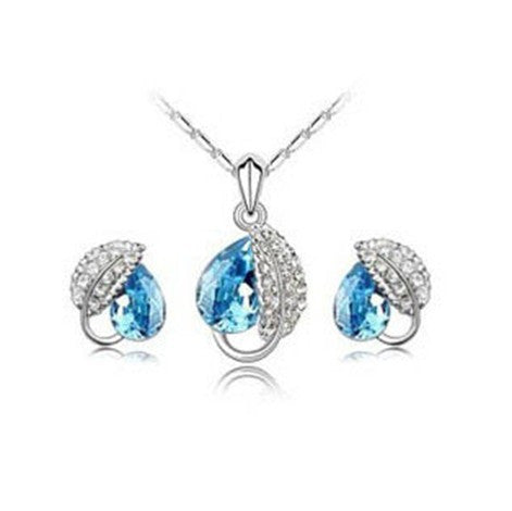 White Gold Plated Swarovski Leaf Crystal Necklace and Earrings Set