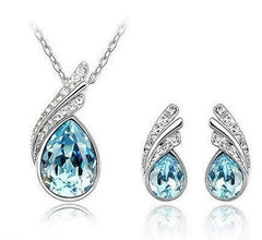 White Gold Plated Swarovski Wings Necklace & Earrings Set