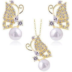 18K Gold Plated Butterfly Pearl Necklace and Earrings Set