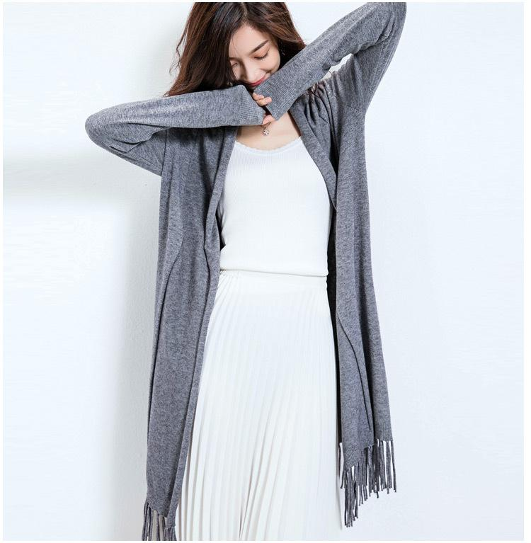Long Sleeved Throw Over Gray