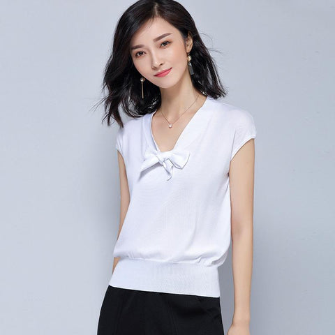 Short Sleeved Knitted Sweater White