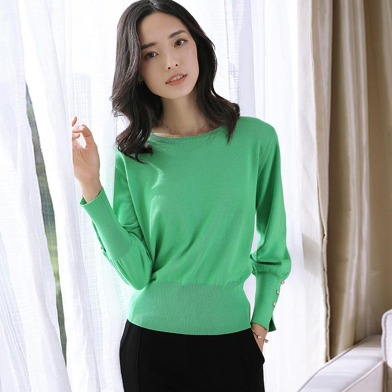 Long Sleeved Knitted Sweater Green