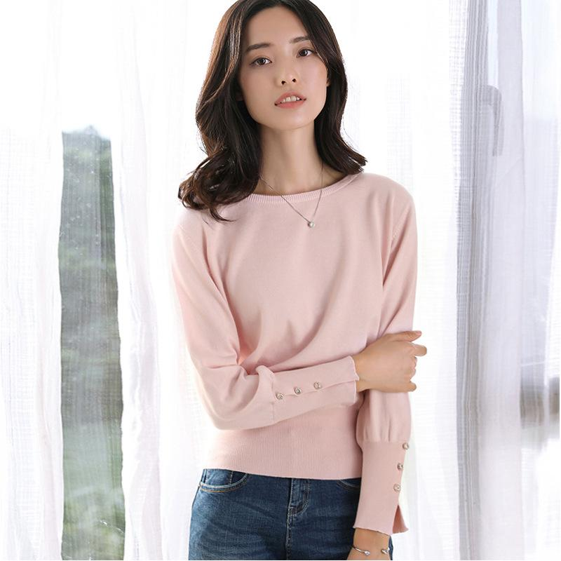 Long Sleeved Knitted Sweater Pink