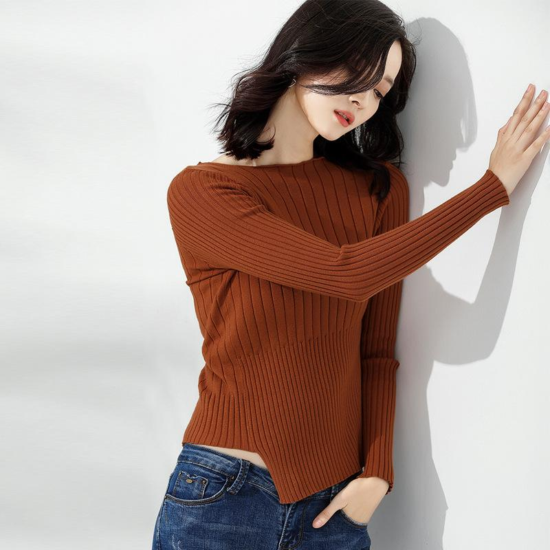 Long Sleeve Knitted Sweater Brown