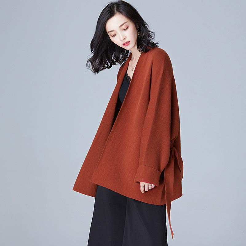 Knitted V Neck Coat Brown