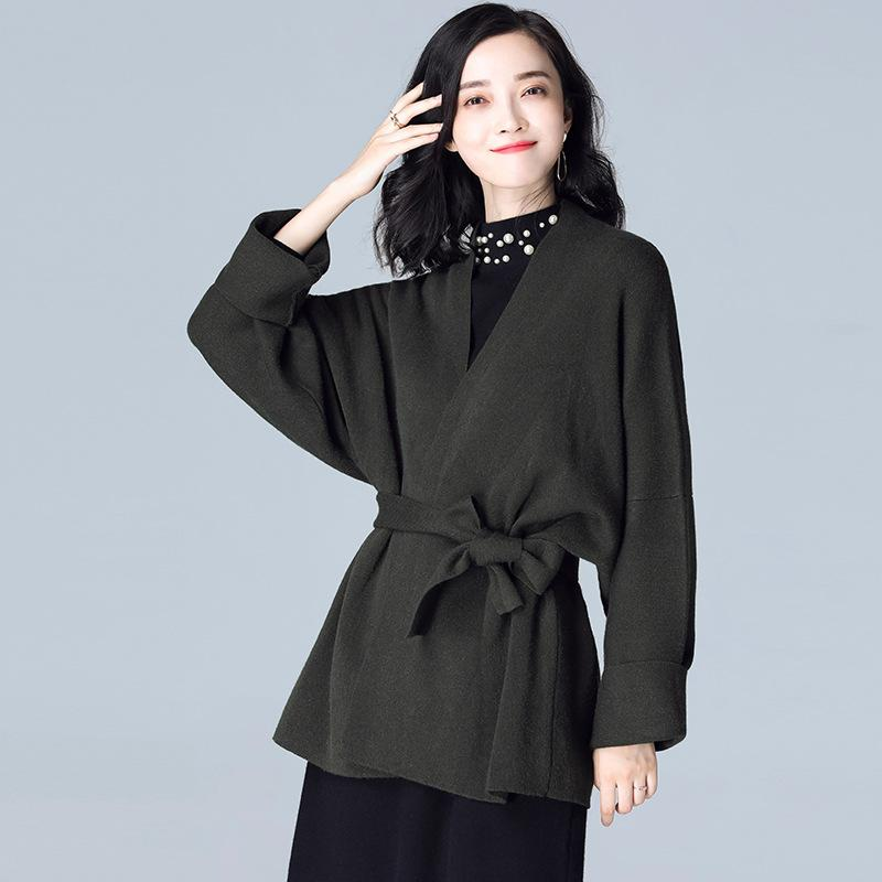 Knitted V Neck Coat Green