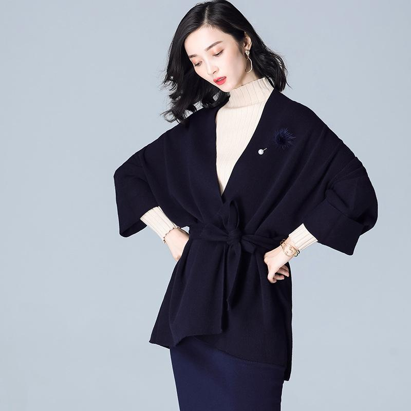 Knitted V Neck Coat Navy