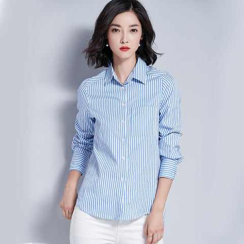 Long Sleeve Shirt Blue And White