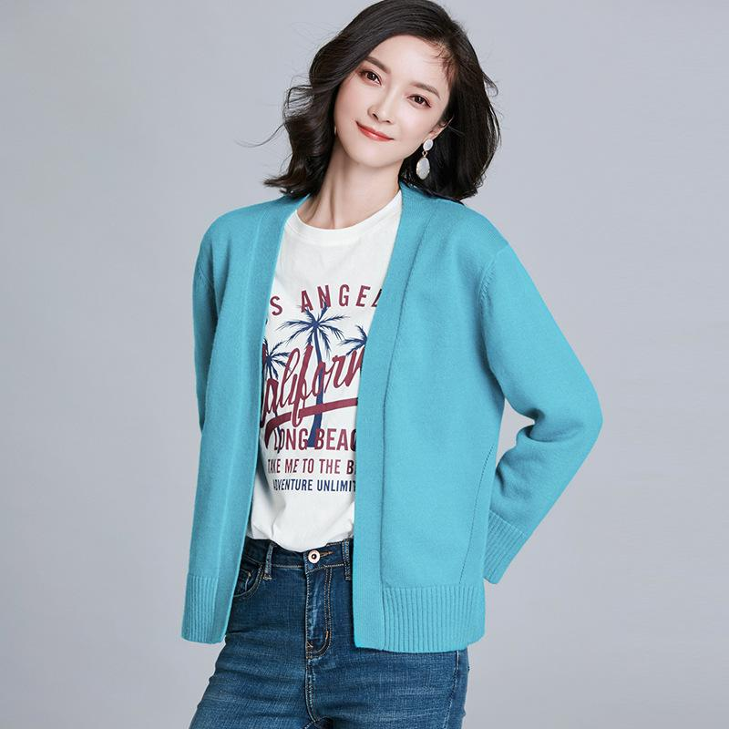 Long Sleeved Knitted Jacket Blue
