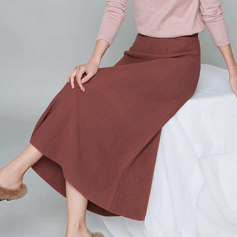 Knitted Skirt Maroon