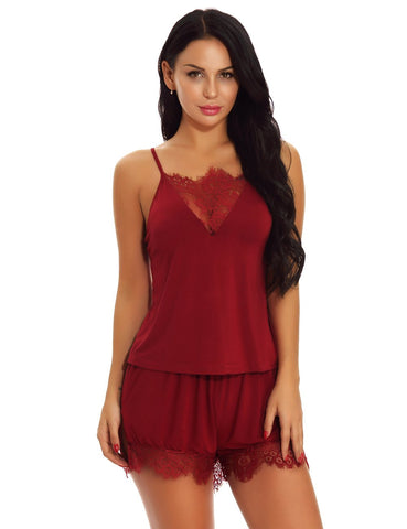 Wine Red Cami & Shorts Pajama Set Lingerie