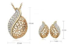 18k Gold Plated Swarovski Hollow Leaf Necklace and Earrings Set