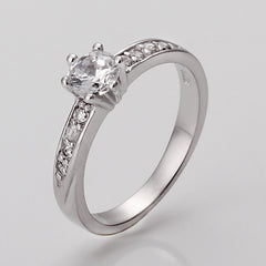 White Gold Plated Ladies Swarovski Engagement Ring
