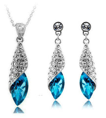 Platinum Plated Swarovski Dust Necklace and Earrings Set