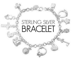 Sterling Silver Charm Bracelet with Pendants