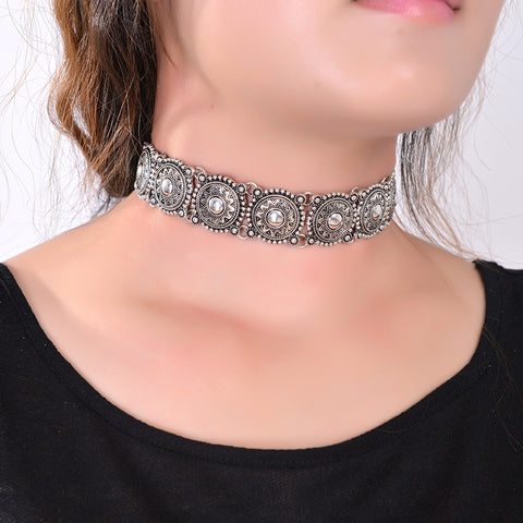 Bohemian Choker Silver Plated Necklace