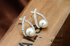 Swiss Crystal Faux Pearl Stud Earrings