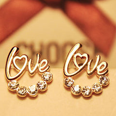 Gold Plated LOVE Heart Crystal Stud Earrings