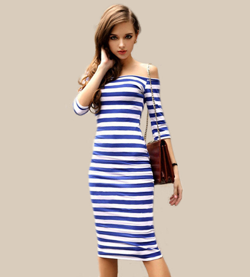 Striped Half Sleeve Dress