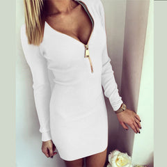 Long Sleeve V-neck Bodycon Dress