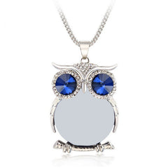 Rhinestone Owl Necklace with Swiss Crystals