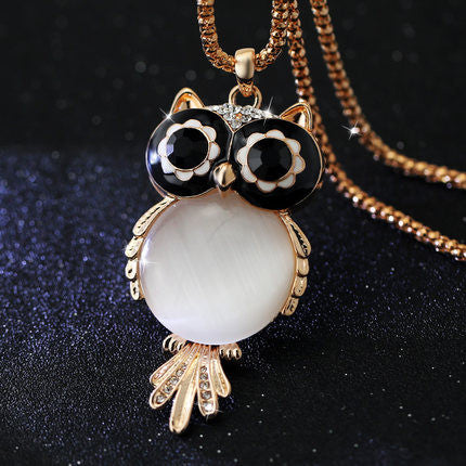 Owl Charm Necklace with Swiss Crystals